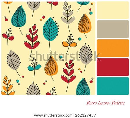 A flat design background of retro leaves and flowers, in a colour palette with complimentary colour swatches. EPS10 vector format. - stock vector