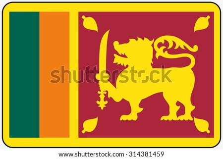 A Flat Design Flag Illustration with Rounded Corners and Black Outline of the country of Sri Lanka - stock vector