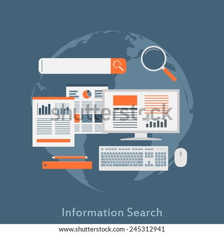 a flat style illustration concept for information search, seo optimization, analytical web search - stock vector