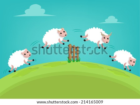 A flock of White Sheep Jump over a Fence - stock vector
