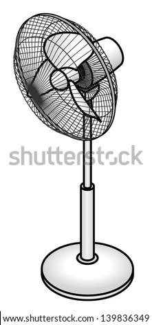A floor standing pedestal fan   Table Fan Clipart Black And White