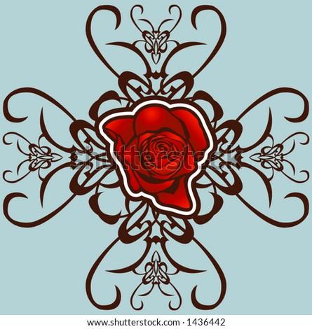 A floral design element. - stock vector