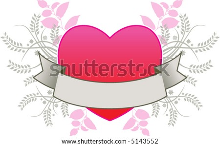 A floral heart banner in gray, red and pink - stock vector