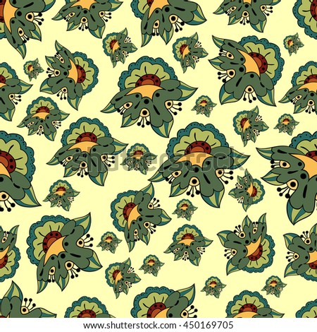 A floral pattern on a beige background.