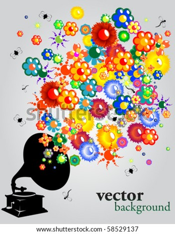 A floral sound, abstract vector background