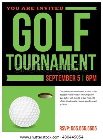 Flyer Golf Tournament Invitation Template Vector Stock Vector Hd