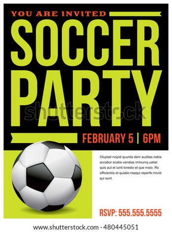 flyer soccer party invitation template vector stock vector 480445051