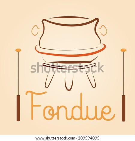 a fondue cauldron  with a pair of sticks for menu design - stock vector