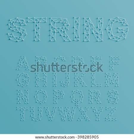 A font set made by pins and lines forming net, 3D and realistic, vector - stock vector