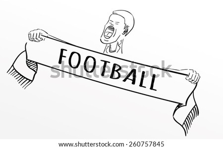 A football fan shouting with a scarf in his hands. EPS10 vector illustration - stock vector