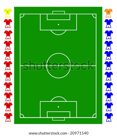 A football, soccer pitch tactical vector with two teams of footballers and a pitch representation. All elements are fully resizable to any dimension without loss of quality - stock vector