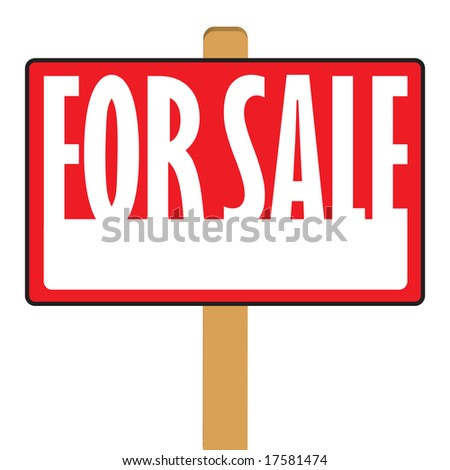 A for sale sign with copy space in vector format. - stock vector