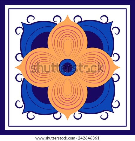A four petaled golden flower against an abstract background forms the basis for this tile pattern.  - stock vector
