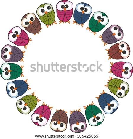a frame of owls - stock vector