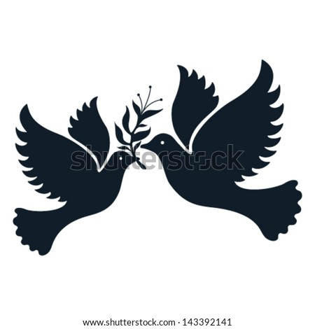 A free flying vector white dove symbol. - stock vector