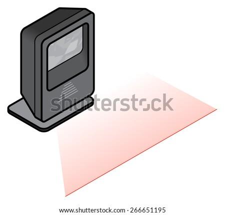 A free-standing desktop barcode scanner. - stock vector