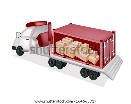 A Freight Container Trucking A Group of Cardboard Boxes on The Back of A Flatbed Truck, Tractor Trailer or Flatbed Articulated Lorry for Trucking Products and Materials from Overseas Shipping.
