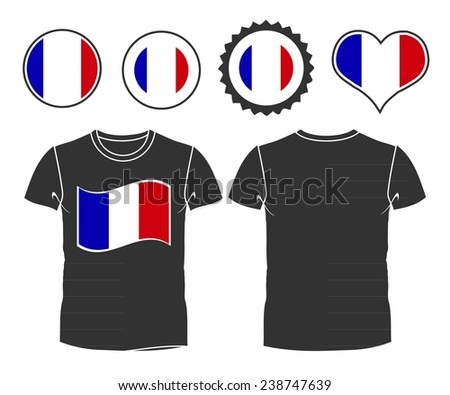 A French businessman rips open his shirt and shows how patriotic he is by revealing his countries flag beneath printed on a t-shirt - stock vector