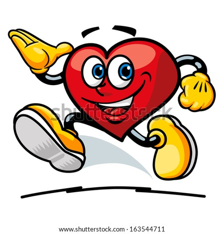 A friendly heart shaped cartoon smiling and saluting