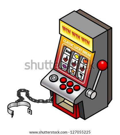 A fruit/slot/pokies machine with shackles/manacles.