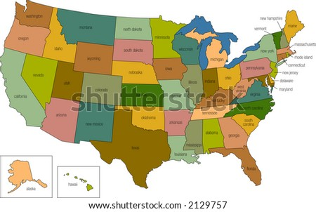 a full color map of the united states of america with the state names called out - stock vector
