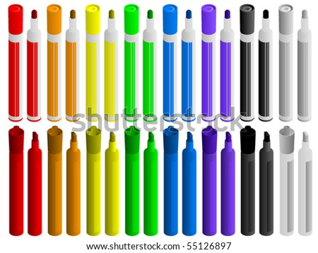 A full set of markers in many colors