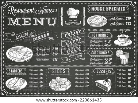 A full vector template Chalkboard menu for restaurant and snack bars with grunge elements. File is organized with layers for ease of use.