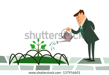 a fully editable horizontal vector illustration of a business man happily watering a small sprout on his grass garden for any environment and conservation concept - stock vector