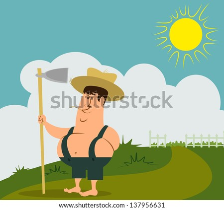 a fully editable illustration of a young farmer boy standing in the sun, in front of his crop field with a hoe in his hand - stock vector
