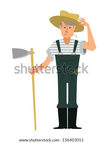 A fully editable vertical illustration of a farmer with a hoe and grabbing his straw hat and with some straw on his mouth for any farming concept - stock vector