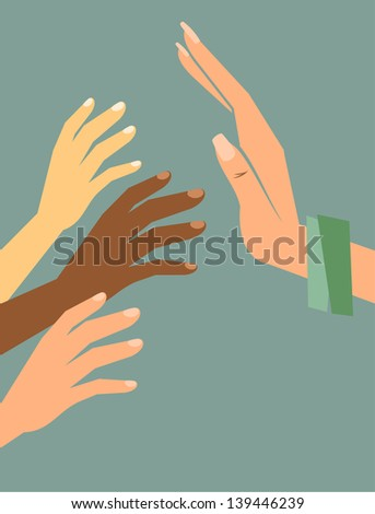 A fully editable vertical illustration of hands of several ethnic groups reaching for a protective bigger female hand for any poverty or social concepts. - stock vector