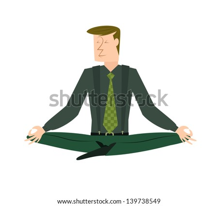 A fully editable	vertical vector illustration depicting a Caucasian businessman in a lotus position meditating in peace for any spiritual and inner peace business concepts - stock vector