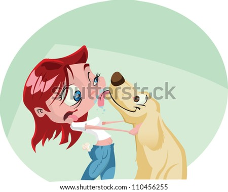 A funky cartoon woman gets a big wet kiss from her dog. Illustrator .eps v10. Contains some transparency effects on highlights. - stock vector