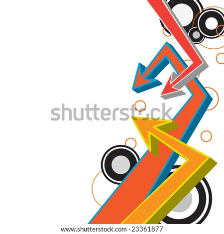 A funky urban layout with graffiti style arrows and circles. - stock vector
