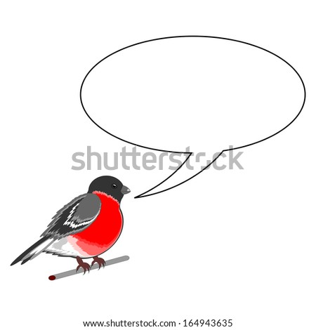 A funny bullfinch with a chatting bubble. Vector-art illustration on a white background - stock vector