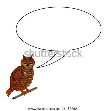 A funny cartoon owl with a speech bubble. Vector-art illustration on a white background - stock vector