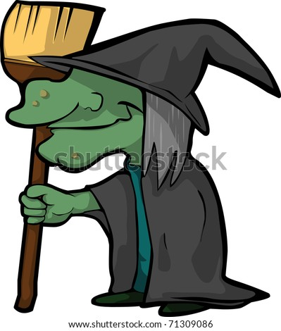 A funny cartoon Witch with her Broom in Halloween Time vector Illustration - stock vector
