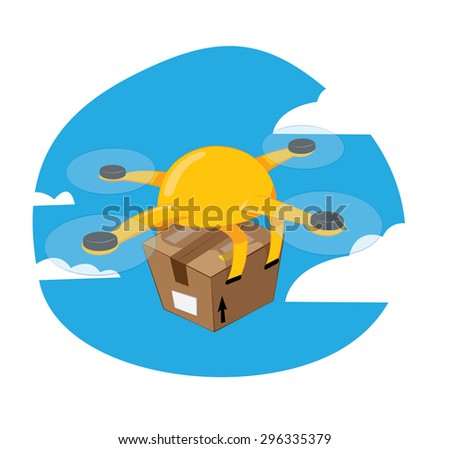 a funny vector cartoon representing a yellow shipping drone flying and carrying a brown box, fast delivery concept. - stock vector