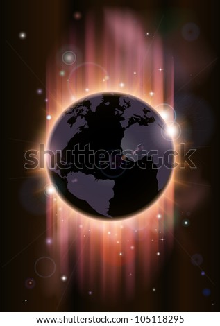 A futuristic world globe concept illustration with light rays and stars - stock vector