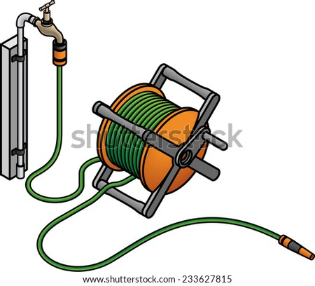 A garden hose reel and a brass tap. - stock vector