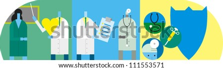 A general heath-related illustration with physicians, researchers and patients teaching and exchanging information - stock vector