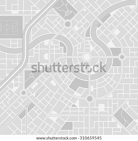 A generic city map pattern of an imaginary location in shades of grey - stock vector
