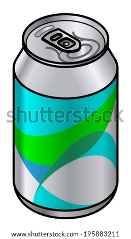 A generic unlabelled aluminium drink can with a teal-green abstract pattern.