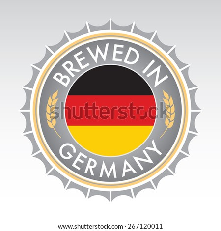 A German beer cap crest in vector format. The bottle cap features the German flag flanked by two golden wheat icons. - stock vector