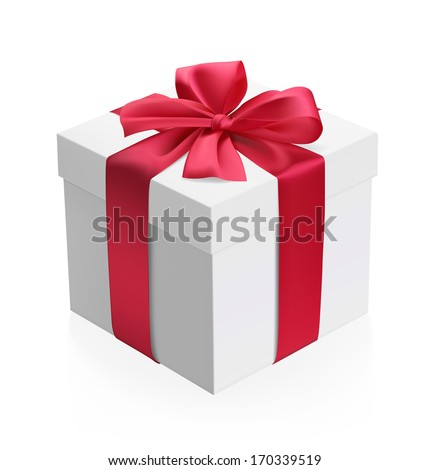 A gift box with red bow and ribbons isolated on white background. Vector illustration. Realistic.  - stock vector