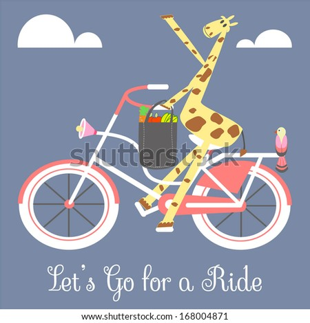 A Giraffe is Riding Bicycle to the Market - stock vector