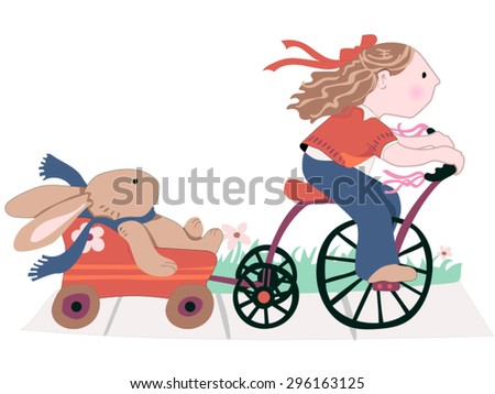 A Girl and her Best Friend A sweet little brown-haired girl rides a tricycle on the sidewalk and pulls a toy wagon carrying her favorite stuffed, plush toy bunny. Easy to edit, scalable vector.