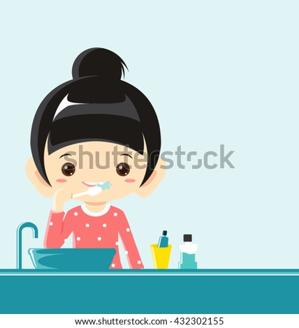 A girl brushing teeth-Vector Illustration - stock vector