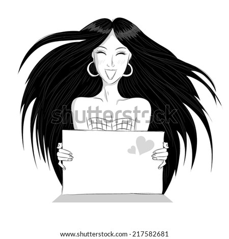 A girl hold white blank paper. Young smiling woman show blank card.  - stock vector