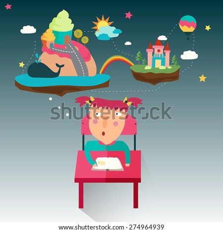 A girl is writing a fantasy novel while her imagination flow, create by vector - stock vector